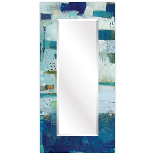 Empire Art Direct Rectangular Beveled Wall Mirror on Abstract Printed Temped Glass -