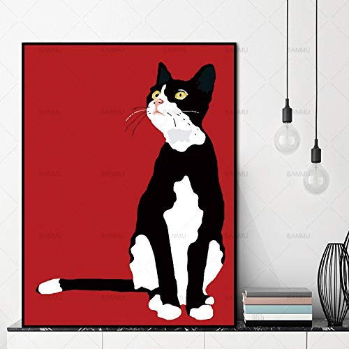 Hauptdekoration Wandkunst Bild Katze Cartoon Tier Leinwand Malerei Dekoration Poster Kunst Bild,Rahmenlose Malerei-30X40cm