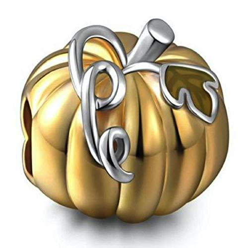 Bolenvi Abalorio de plata de ley 925 con diseño de calabaza de oro para Pandora y pulseras o collares similares