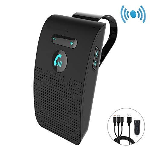 KFZ Bluetooth 5.0 Freisprecheinrichtung Lively Life Auto Power ON Freisprechanlage Car-Kit mit Kfz Ladegerät und 3 in 1 Ladekabel für Sonnenblenden