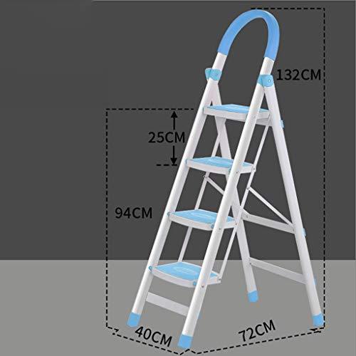 LRZLZY 4-Stufenleiter, Folding Aluminium Trittschemel, Küche mit Stehleitern rutschsichere Stufen und Gummihandgriff, Zuhause/Küche/Garage Hocker (Color : Blue)