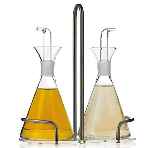 JUALIEN Aceitera vinagrera antigoteo de Cristal de 250ml con Soporte (2 pzas)