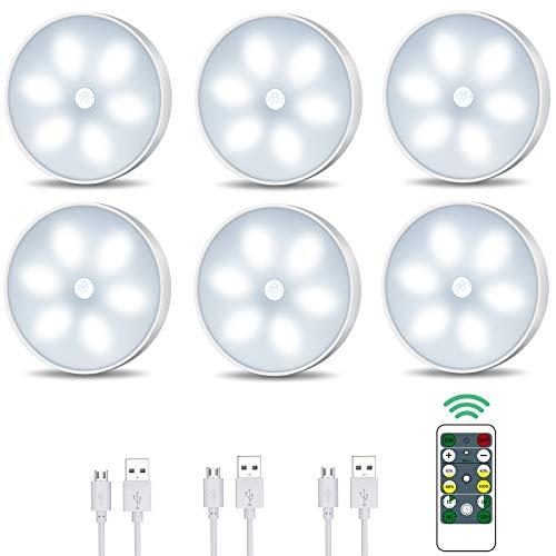 Racokky LED Nachtlicht mit Bewegungsmelder,LED Schrankbeleuchtung mit Fernbedienung,USB Wiederaufladbar Schranklicht mit Auto/ON/Off Modi,Intelligente Innenbeleuchtung(6 Stück)