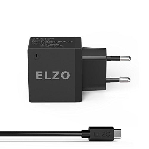 ELZO QC 2.0 Cargador Rápido 18W USB Quick Charger 2.4A para Samsung Galaxy S7 Plus, S7, Sony Xperia Z3 Compact, Z4 Tablet, Z5, HTC One M9, Google Nexus 6, Motorola Droid, LG G4, Huawei, etc.