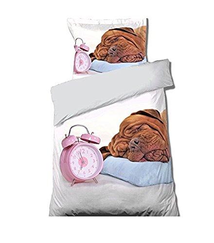 Réveil Bettbezug + Kissenbezug für Einzelbett, Hundemotiv, 100 % Baumwolle