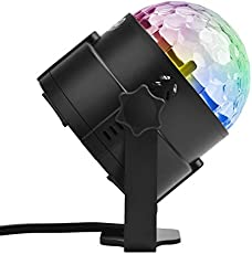 ELEOPTION DJ Disco Stage Lights Self-Propelled & Sound Activated Party Lights 7 Color Changing 3W RGB Crystal Magic Rotating Stage Effect Light Clubs Light For KTV Xmas Party