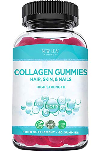 Collagen Gummies 1000mg Chewable Hair Vitamins, Nail Health & Skin Elasticity - Beauty Supplements with Vitamin C, Biotin, and Selenium, Hydrolysed Collagen 60 Gummies Not Tablets Or Powder