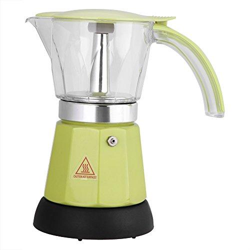 Cafetera eléctrica, 300 ml / 6 tazas de café exprés de aleación de aluminio, cafetera Moka, estufa de cocina espresso desmontable para el hogar/oficina/hotel(Verde)