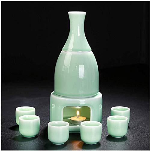 LLDKA Sake Set, celadon keramische wijn set temperatuur blancheren beker witte wijnfles wijn gift box Nuanjiu