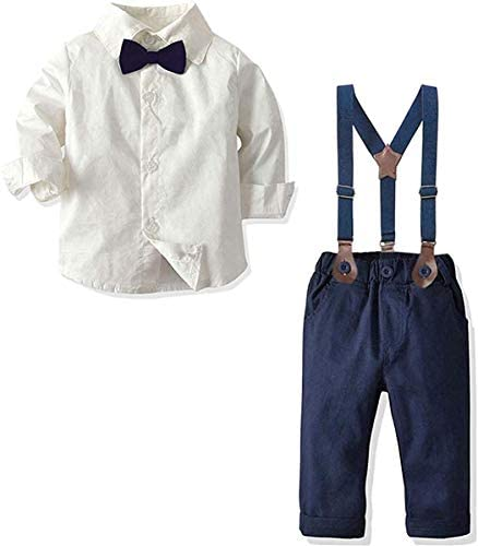 Baby Boys Dress Clothes Toddlers Boys Long Sleeves Button Down Dress Shirt with Bowtie Suspender product image