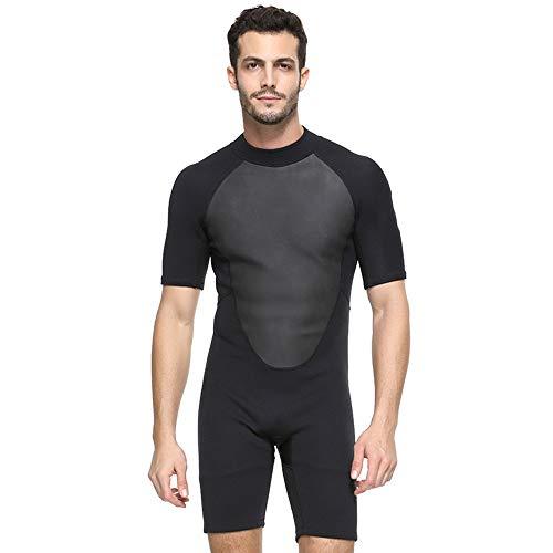 JenLn Traje de Snorkel Siamés Adulto de Secado rápido de los Hombres de la protección Solar Traje de Manga Corta aptas for el baño Traje de baño de Hombres (Color : Black, Size : 3XL)