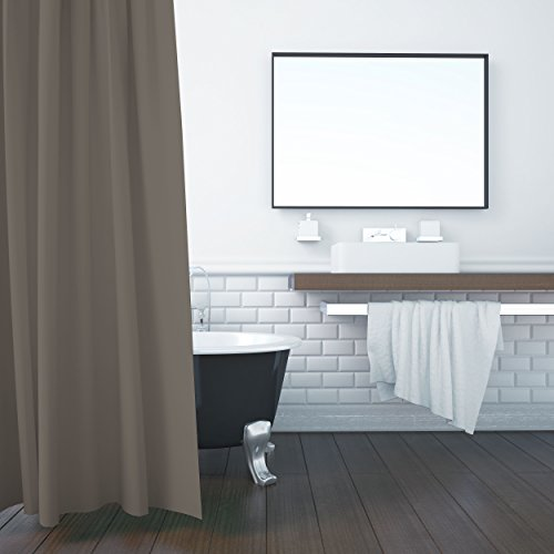 ZOLLNER Duschvorhang, 180x200 cm, Anti-Schimmel, Taupe (weitere verfügbar)