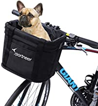Sportneer Bike Basket, Quick Release Front Handlebar Folding Detachable Bicycle Basket, Multi Purpose Easy Install Collapsible Cycling Basket for Picnic Shopping,Pet Cat Dog Carrier,Outdoor Camping