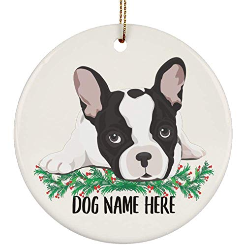 Lovesout Personalized Name Pied French Bulldog Gifts 2021 Christmas Tree Ornaments Circle Ceramic