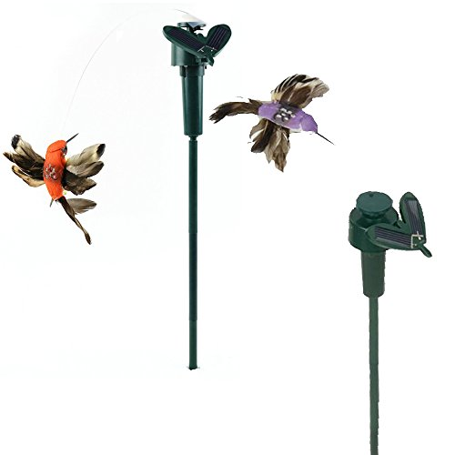 Vnfire 2 Pcs Solar / Battery Powered Flying Wobble Fluttering Hummingbird...