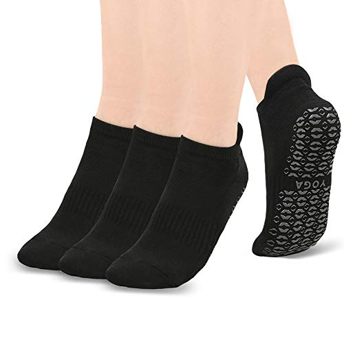 Ridirun Yoga Socken Damen Männer,rutschfest Atmungsaktiv für Yoga Pilates Tanz Fitness Sport Workout-Socken mit Baumwolle,3 Paar,35-42