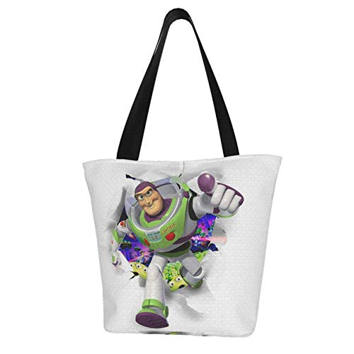 Canvas Tote Bag for Womens and Girls Anime Toy St-Ory Bu-Zz Lig-Hty-Ear Shoulder Handbags Big Capacity Shopping Bag with Zip