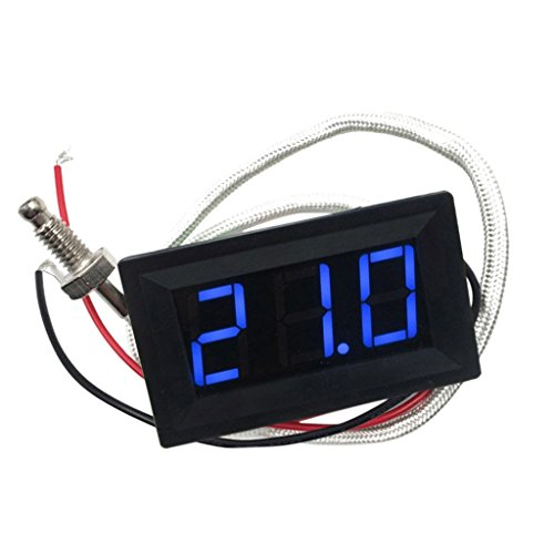 -30-800 ℃ Grad Celsius Thermometer Digital-LED Auto-Temperatur-Messinstrument -Monitor-Anzeige Tester Temp Panel Meter Spur 12V ± 2V Angetrieben, Temperaturgenauigkeit: ± 0,3 ℃ Grad Celsius - Blau