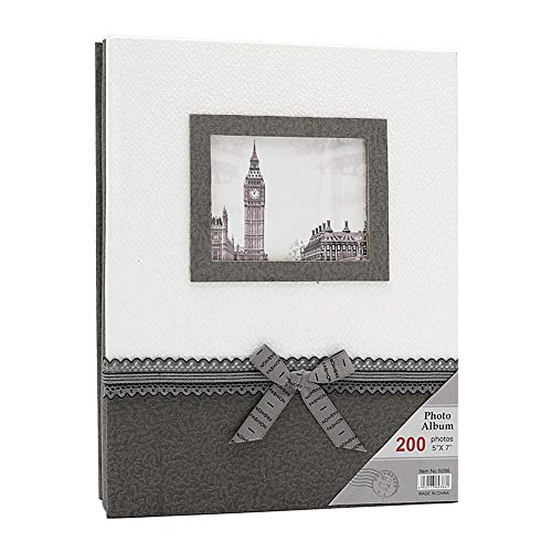 ZZKOKO Photo Album 5x7, Wedding Photo Albums Holds 200 Horizontal 5by7 Photos, 2 Per Page Family Album Gift for Mother Father Valentines Day Present (Grey)