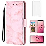Asuwish Compatible with OnePlus 3 3T A3000 Case and Tempered Glass Screen Protector Card Holder Slot Kickstand Marble Wallet Phone Cases for Oneplus3 Oneplus3T 1 One Plus T 1plus 1+ 1+3T 1+3 Pink