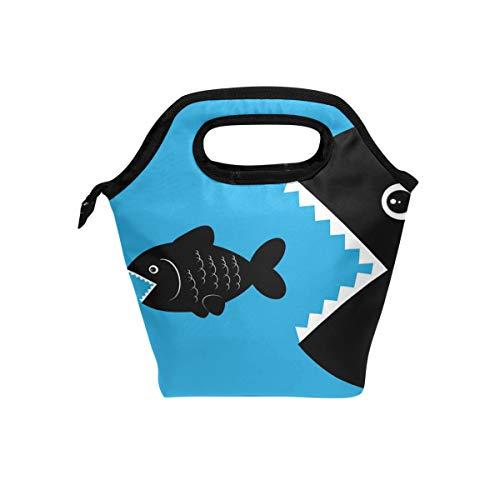 Doshine - Bolsa de almuerzo con diseño de comida de pescado, bolsa de almuerzo aislante portátil para hombres, mujeres, adultos, niños y niñas