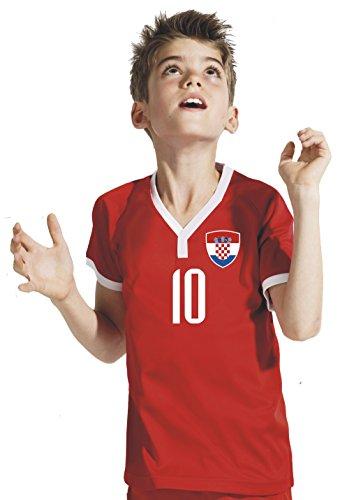 Aprom-Sports Kroatien Kinder Trikot - Hose Stutzen inkl. Druck Wunschname + Nr. Rot WB WM 2018 (140)