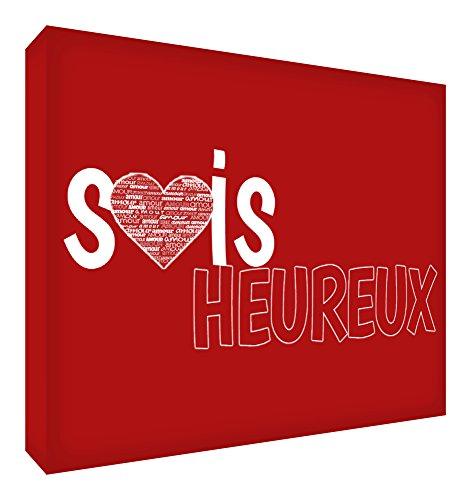 Feel Good Art Sois Heureux Bloc Décoratif en Acrylique Transparent Poli comme Diamant Rouge 14,8 x 10,5 x 2 cm