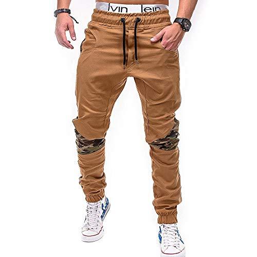 Jogging Pantalons de Survêtement Ceinture Élastique Sport Cargo Pantalons avec Poches, Morbuy Mince Couleur Unie Grande Taille Joggers Activewear Pantalons pour Homme Lâche Respirant (M,Kaki)
