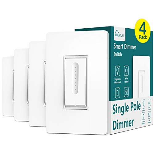 Treatlife Smart Dimmer Switch 4 Pack, Neutral Wire Required, Smart Home WiFi Light Switch for Dimmable LED, Halogen and Incandescent Bulbs, Compatible with Alexa, Google Assistant, Single-Pole