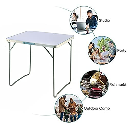 Space Saving Folding Table Picnic Party Foldable Aluminium Camping Table Portable Indoor Outdoor Dining Camp Tables Utility BBQ, Unfolding Size 80x60x69cm, White
