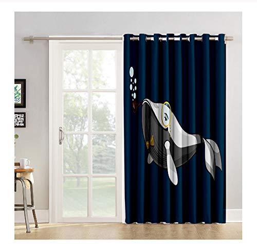 WKJHDFGB White Whale Pipe Cartoon Vorhänge Fenster Behandlungen Fenster Vorhänge Dunkle Jalousien Schlafzimmer Vorhänge 215X135Cm