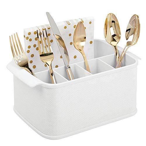 mDesign Besteckhalter mit Griffen – dekorativer Besteckkorb für Küche, Esszimmer, Garten oder Picknick – Besteckorganizer mit 5 Fächern – weiß