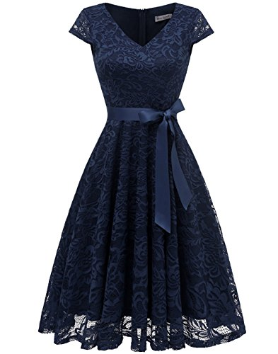 BeryLove Damen V-Ausschnitt Kurz Brautjungfer Kleid Cocktail Party Floral Kleid BLP7006NavyL
