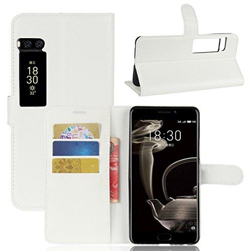 Ycloud Tasche für MeiZu Pro 7 Plus Hülle, PU Kunstleder Ledertasche Flip Cover Wallet Case Handyhülle mit Stand Function Credit Card Slots Bookstyle Purse Design weiß