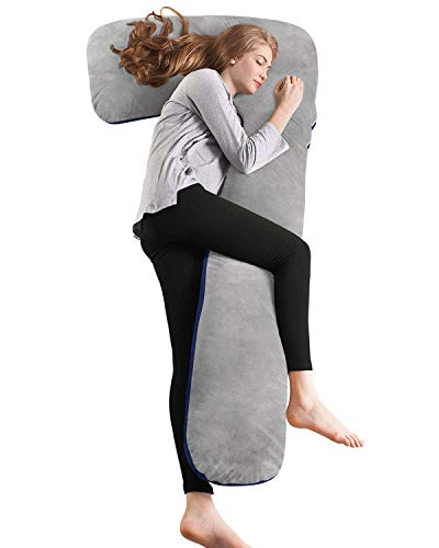 QUEEN ROSE Pregnancy Pillow with Washable Velvet Cover, L Shaped Full Body Maternity Pillow (Blue and Gray)