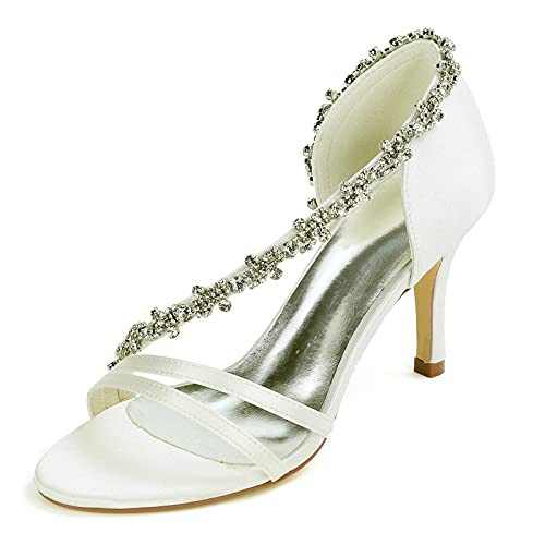 Diamante de imitación Mujer Zapatos De Novia Tacón Alto Satín Puntiagudo Zapatos...