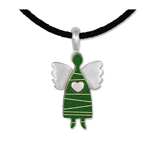 Anhänger Schutzengel Engel Kettenanhänger Silberschmuck Wolkenengel grün small, Band, Schachtel