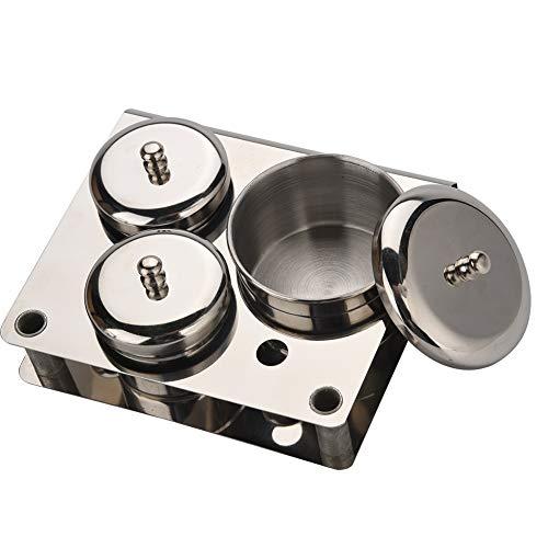 Nail Art Tools - Boîtier en acier inoxydable, Mini boîte de rangement, Set en acier inoxydable pour poudre et liquide pour ongles, 3pcs