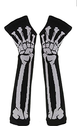 Butterme Welche Art und Weise Frauen Winter warm gestrickten Skelett Knochen lange fingerlose Handschuhe (Schwarz)