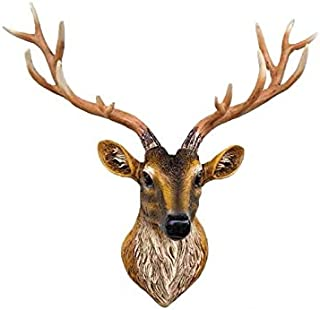 Z.C Home Gift Larger Brown Faux Deer Head - 24 inch Faux Taxidermy Animal Head Wall Decor - Handmade Farmhouse Decor - Rustic Wall Sculpture Deer Antlers