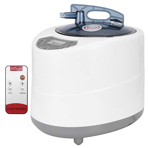 Tragbarer Saunadampftopf, 2,8 l 1500 W Fernbedienung Saunadampfer Nebel Feuchtigkeitsdampferzeuger Dampftopf Verdampfer mit Timer-Temp-Anzeige für Body Detox Gewichtsverlust (EU 220V)
