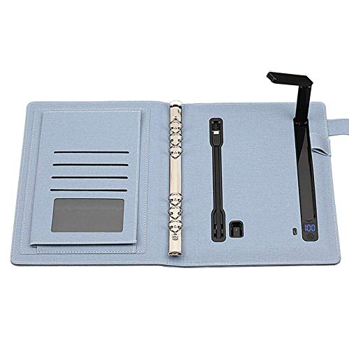 FHQCU Notepad Mobile Binder Spiral Diary 10000mAh Computadora portátil con lámpara de Mesa LED e Interfaz de Salida Android + Apple + Type-c