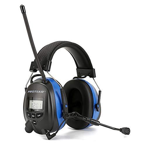 PROTEAR Digital Radio Ear Muffs, Ear Hearing Protection Earmuff with Boom Microphones, Bluetooth AM FM Radio Headphone Function