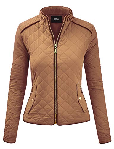 FASHION BOOMY Women's Quilted Padding Vest - Lightweight Zip Up Jacket - Regular and Plus Sizes Large J-Camel
