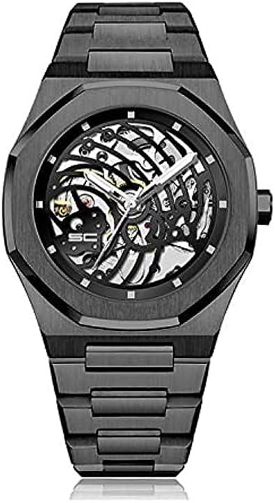 Orologio simone carbini atzeca crono con e senza corona total black, in acciaio o con cinturino in silicone AztecaA1002
