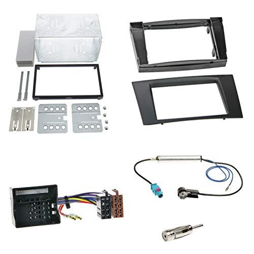 Einbauset : Autoradio Doppel-Din 2-Din Blende Einbaurahmen Radioblende schwarz + ISO Radio Adapter Kabel Adapterkabel + Antennenadapter für Mercedes E-Klasse (W211) Limousine 03/2002-2009
