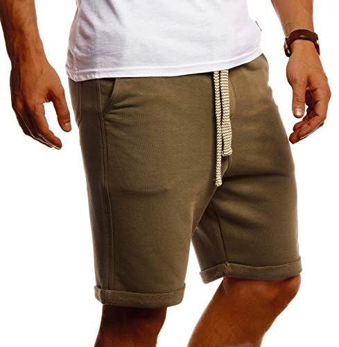 Leif Nelson Herren Kurze Hose Sommer Shorts Baumwolle Männer Jogginghose Freizeit Sport Fitness Training Cargo Bermuda LN8352 Khaki Large