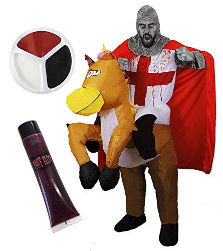 Zombie St Georgs Ritter Kostüm + aufblasbares Pferd mit befestigten Beinen + falsche Blutung + rot-schwarz-weiße Gesichtsfarbe perfekt für Halloween-Kostüm/Junggesellenabschiede (X-Gross)