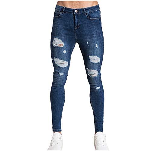 Aiserkly Herren Loch Hose Distressed Jeans Lange Bleistifthosen Streetwear Freizeithose Slim Fit Cargo Hose Outdoorhose Stoffhose Chinohosen Cargohosen Lang Trousers Herrenhose Dunkelblau XL