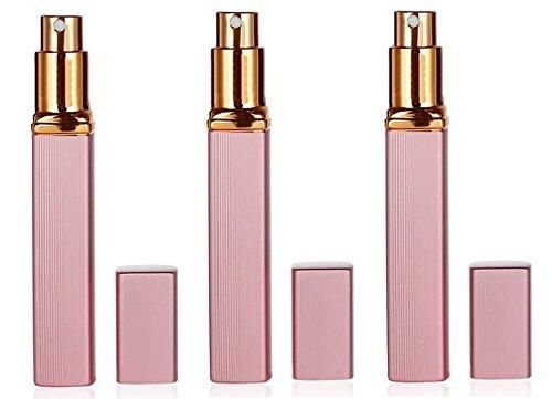 Atomizador de perfume recargable de viaje de 3 piezas, aluminio 12 ml, caja vacía de la bomba del olor del espray (rosa)
